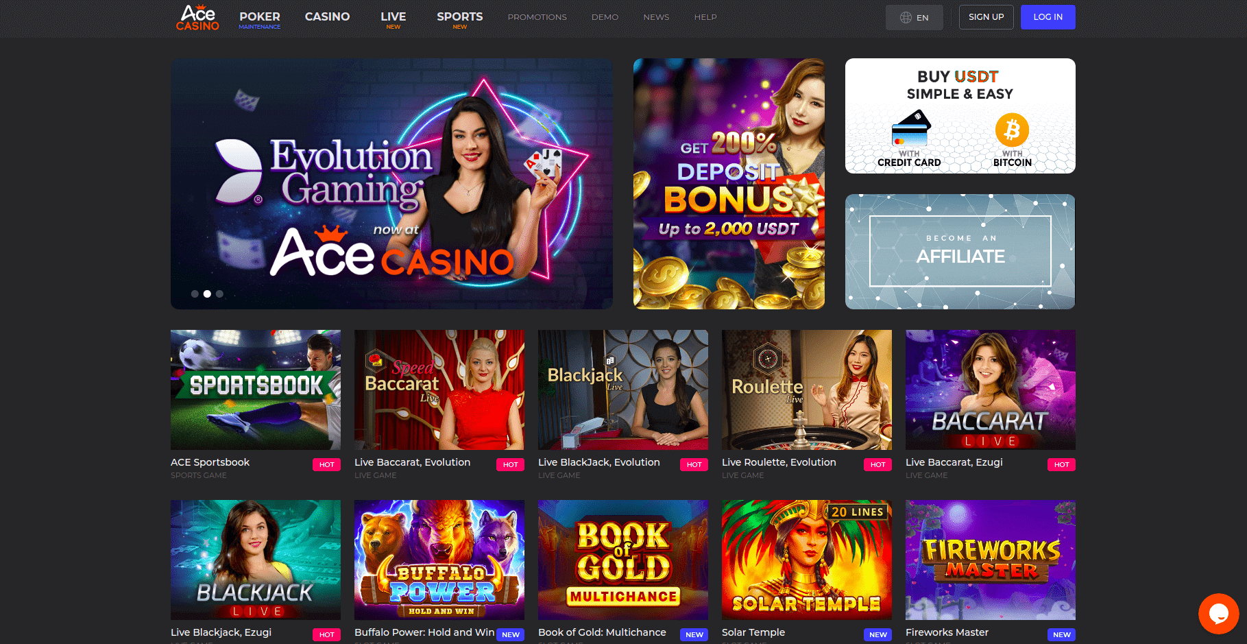 Ace Casino Home Page