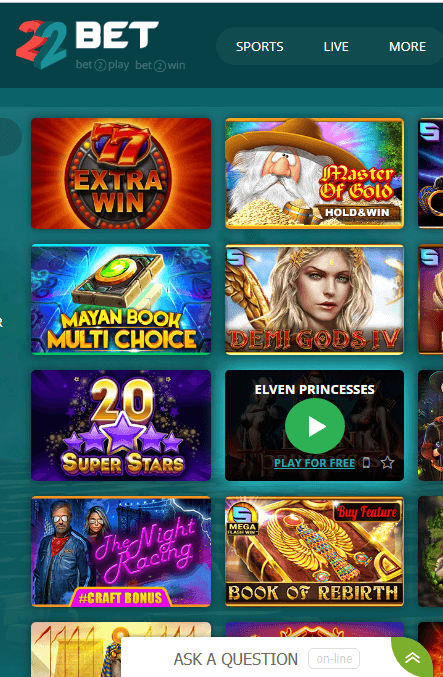 22bet games mobile