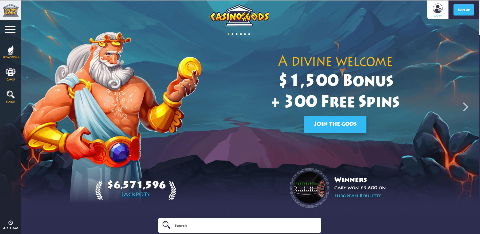CasinoGods home desktop