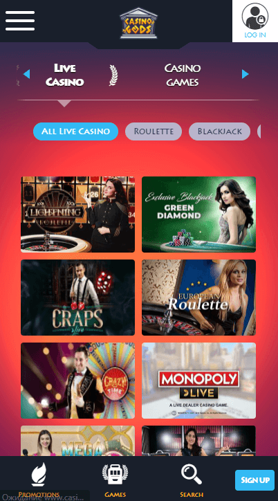 CasinoGods live mobile