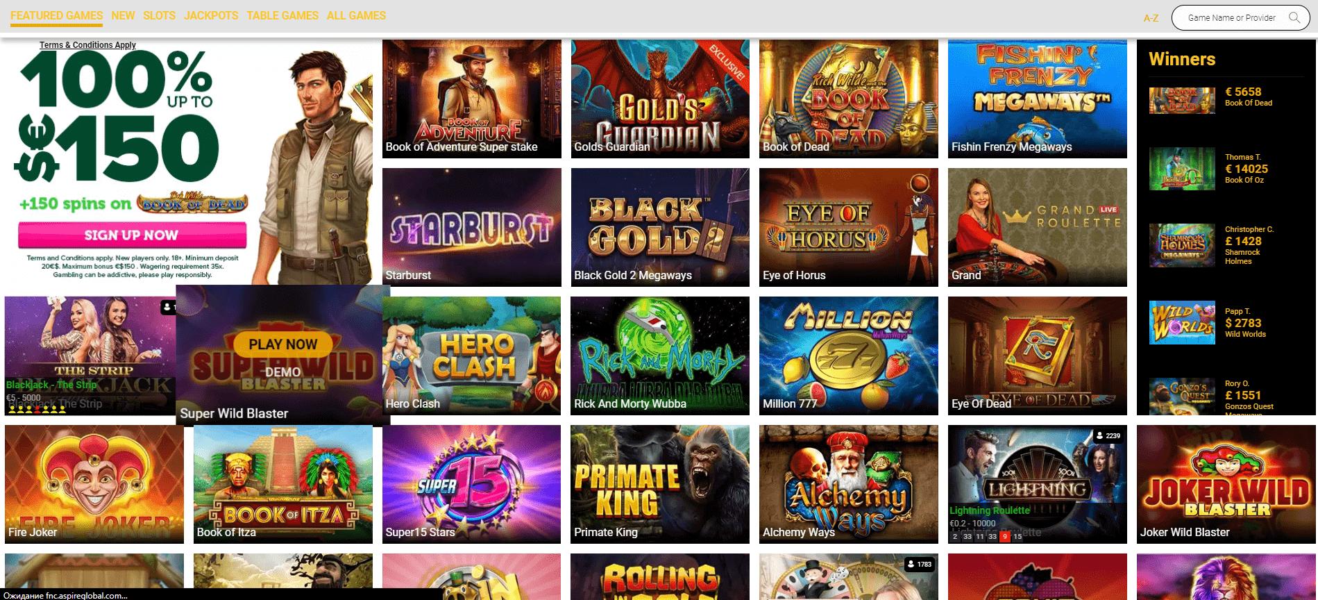 CasinoLuck Games desktop