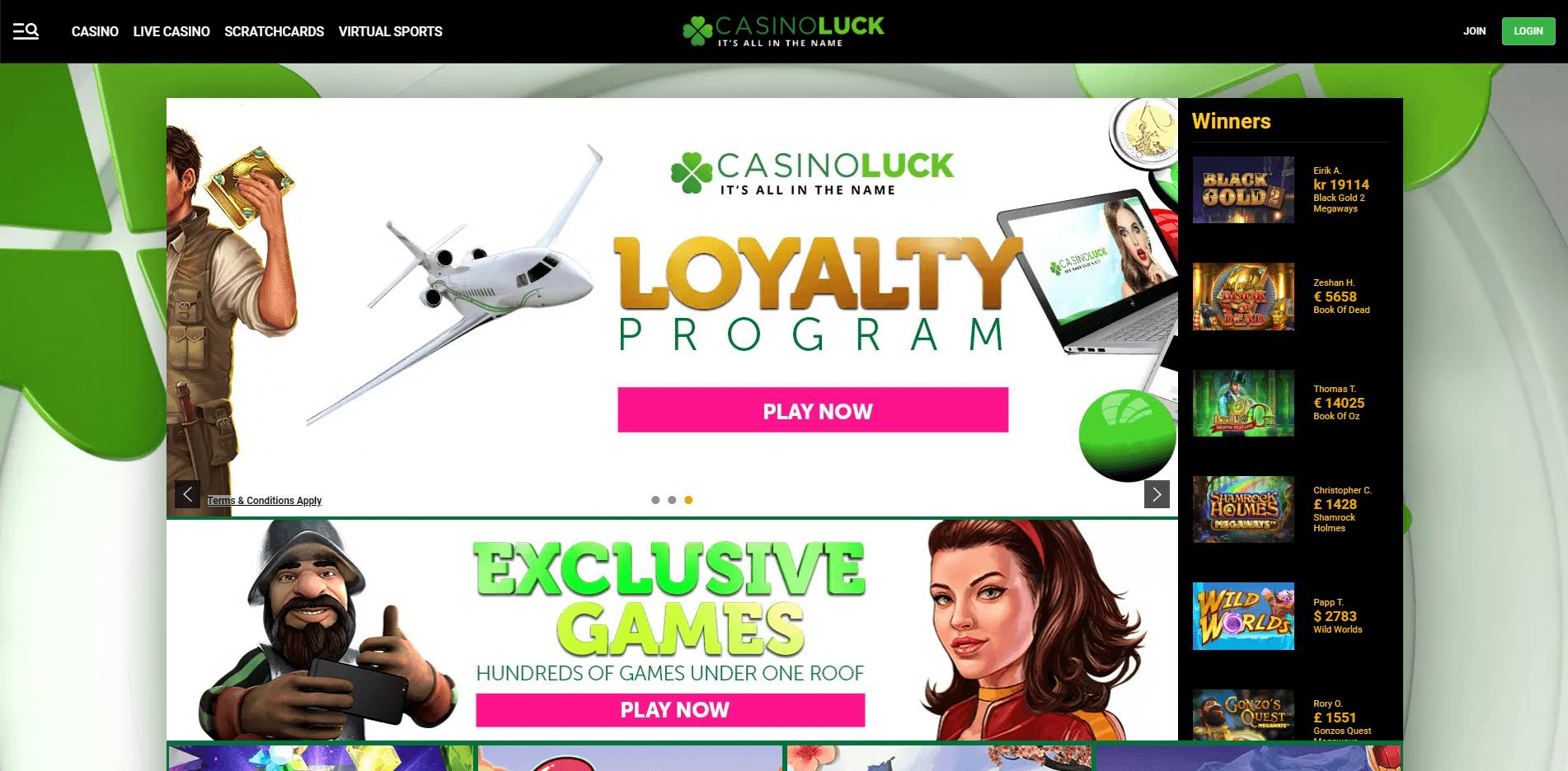 CasinoLuck Home desktop