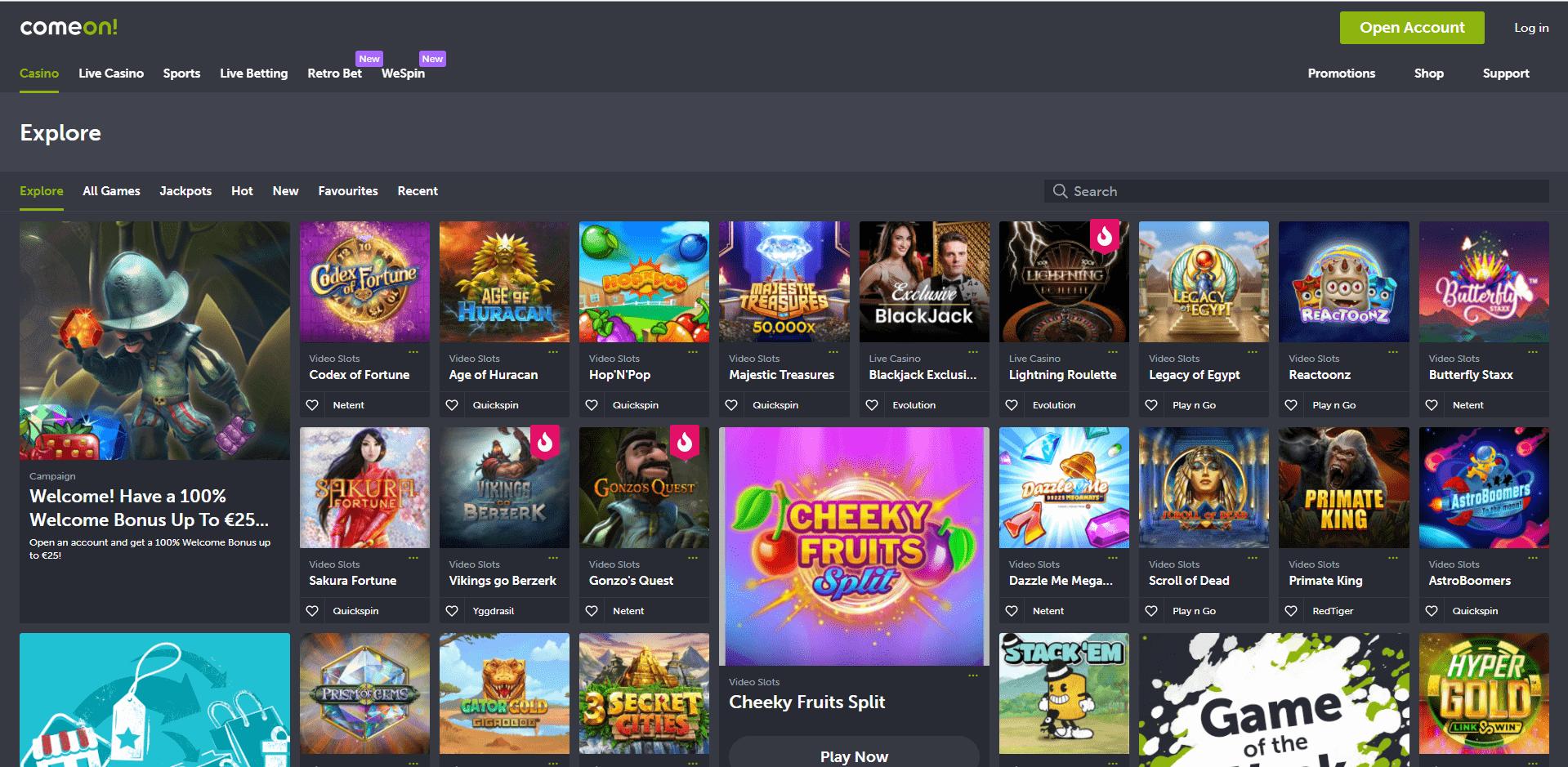 Comeon games Desktop