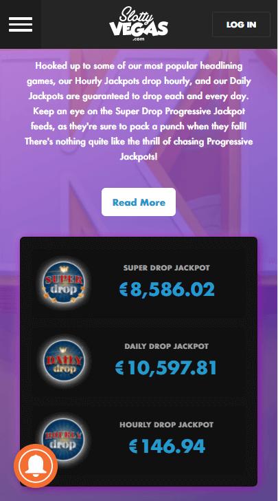 SlottyVegas jackpots mobile