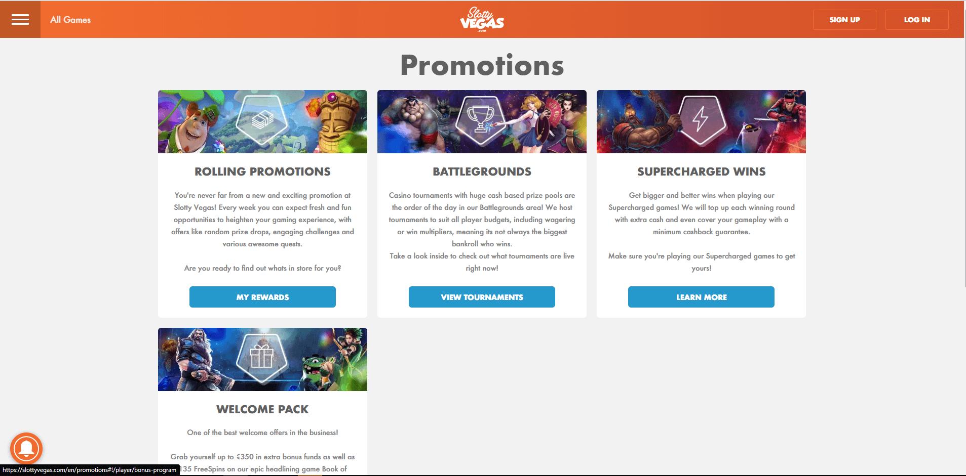 SlottyVegas promo desktop