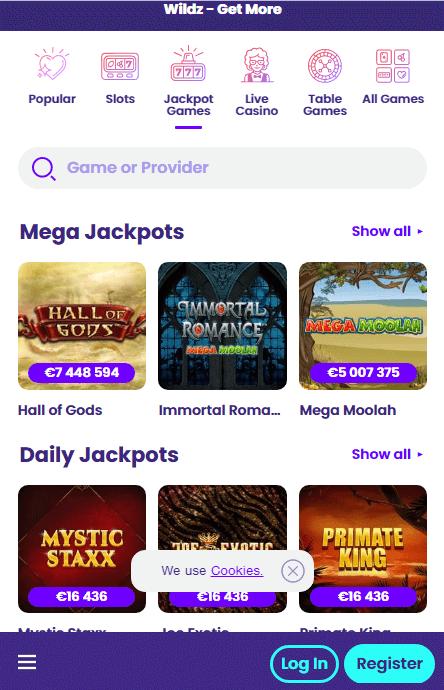 Wildz Jackpots Mobile